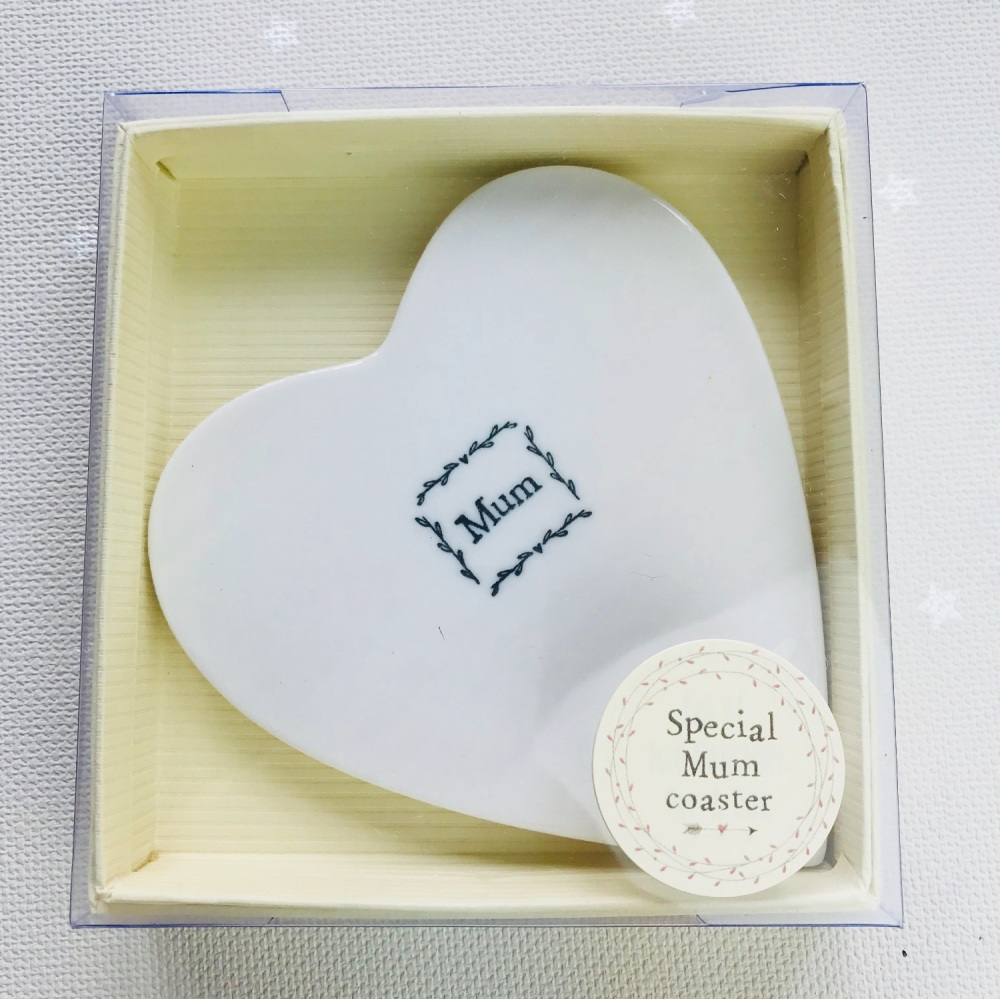 White Ceramic Coaster - Mum