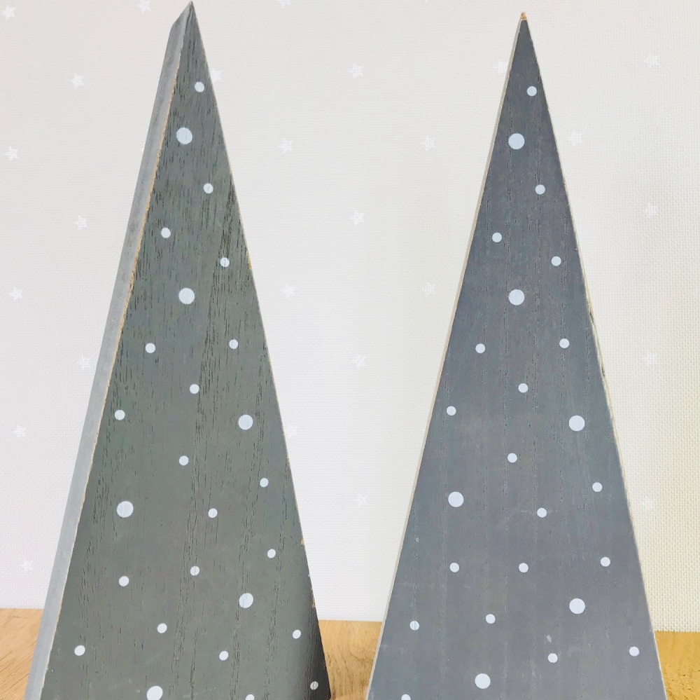 Thick Wooden Standing Christmas Tree - White