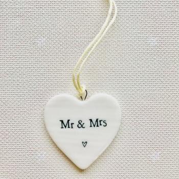 White Porcelain Heart - Mr and Mrs