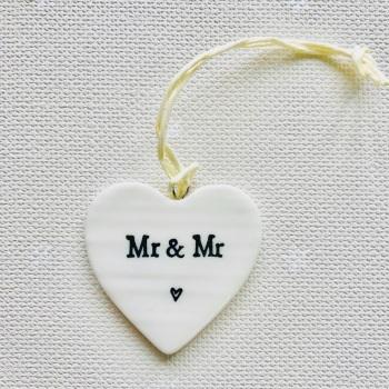 White Porcelain Heart - Mr and Mr