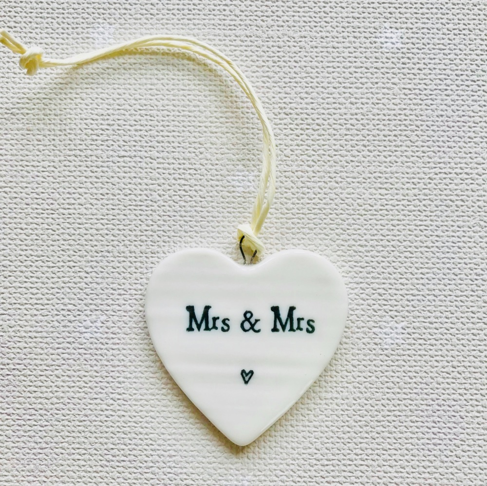 White Porcelain Heart - Mrs and Mrs