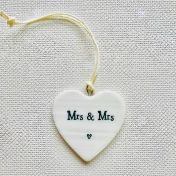 White Porcelain Heart - Mrs and Mrs