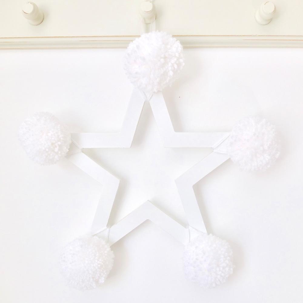 Pom Pom Star - White on White Wooden Frame