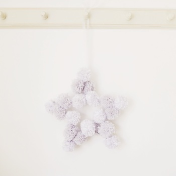 Pom Pom Star - Grey & White on Wire Frame