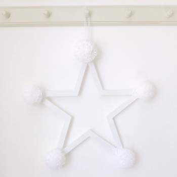 Pom Pom Star - White on White Wooden Frame