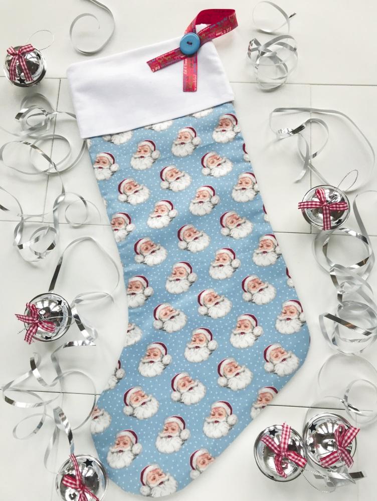 Christmas Stocking - Blue with Santa