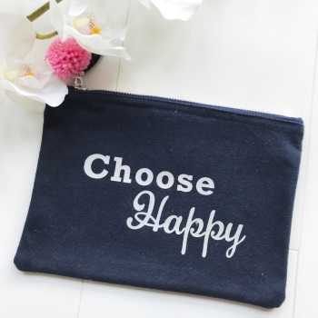 'Choose Happy' Zipper Pouch with Pink Pom Pom