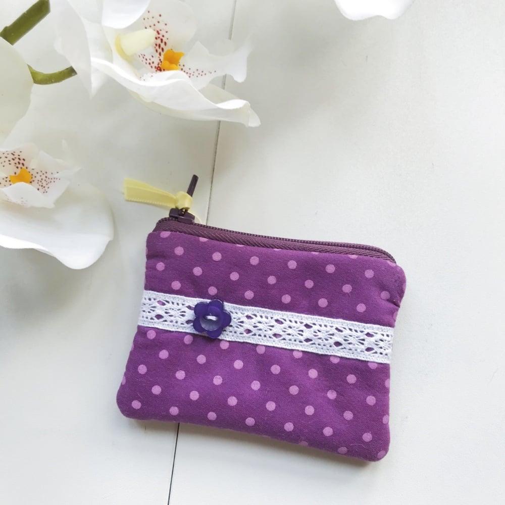 Mini Coin Purse - Purple Spot Fabric