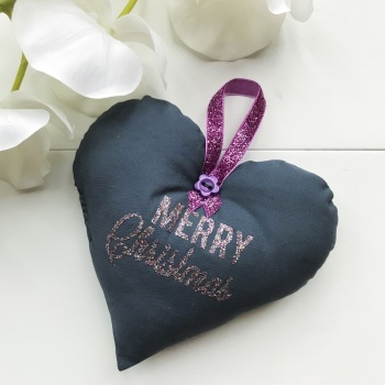 Fabric Heart - Grey Fabric, Glitter Wording and a Pink Ribbon Loop