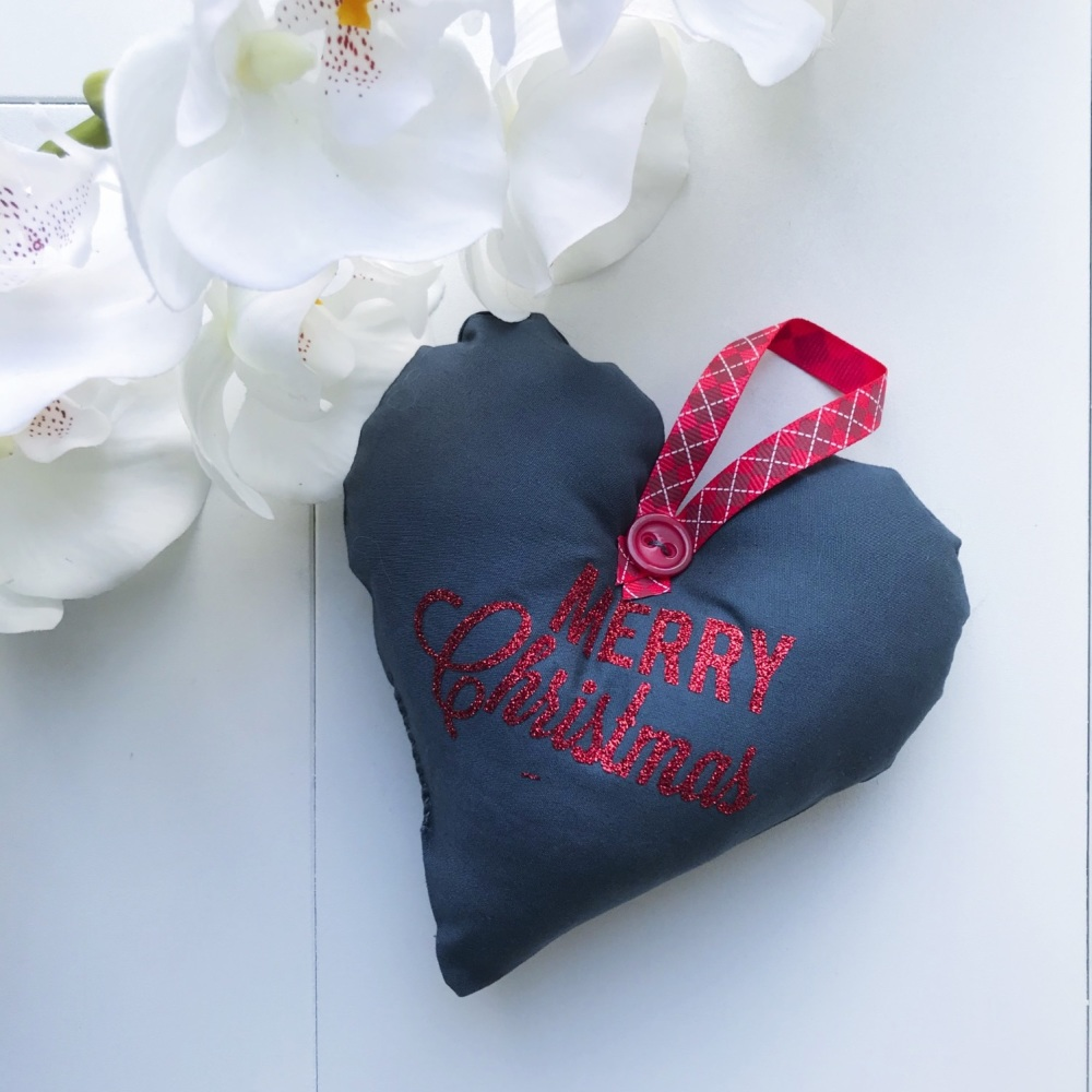 Fabric Heart - Grey Fabric, Red Glitter Wording and a Red Tartan Ribbon Loo