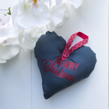Fabric Heart - Grey Fabric, Red Glitter Wording and a Red Tartan Ribbon Loop