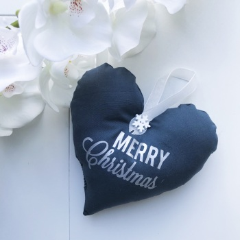 Fabric Heart - Grey Fabric, Silver Wording and a white Ribbon Loop