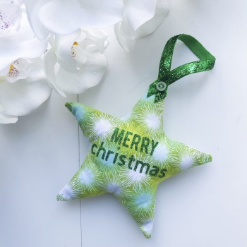 Fabric Star- Green Starburst Fabric with the words Merry Christmas in Green