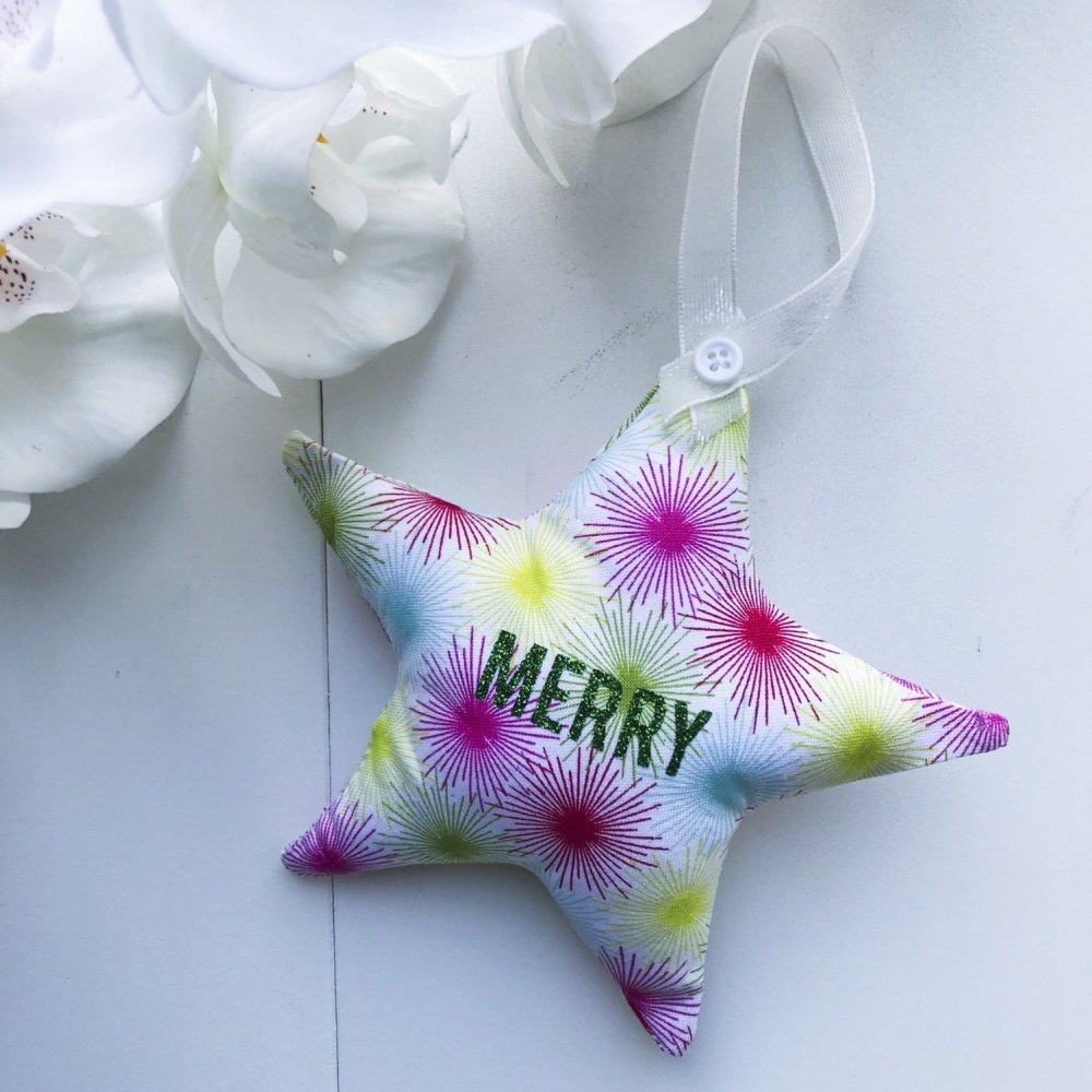 Fabric Star- Pink, Green & Blue Starburst Fabric with the word Merry in Gre
