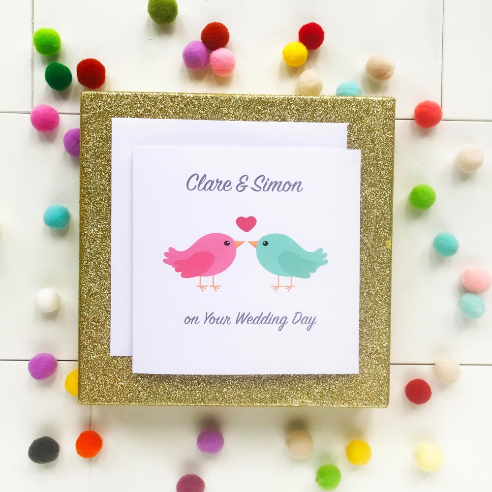 Lovebirds - Personalised Wedding Day Card