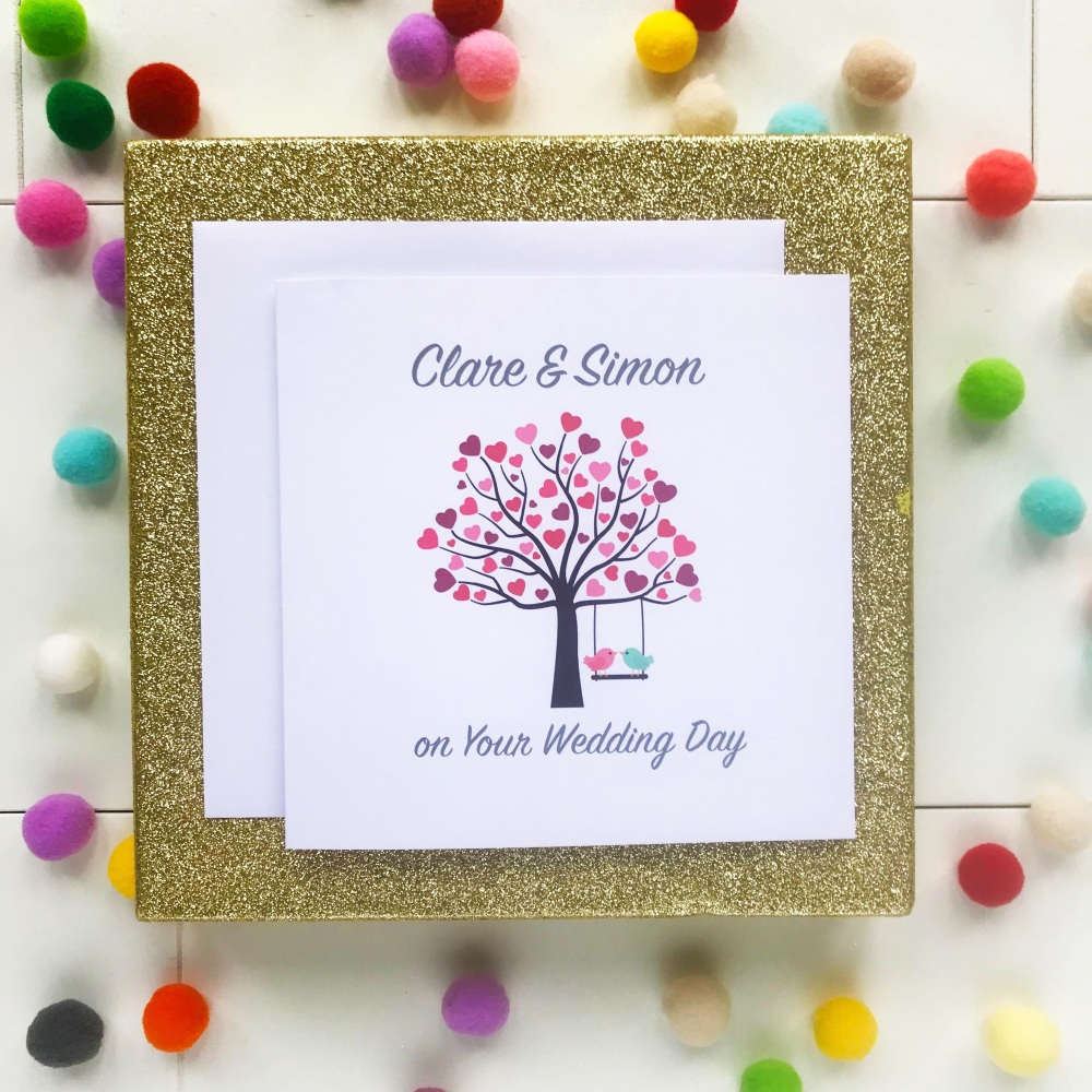 Lovebirds in a Tree - Personalised Wedding Day Card