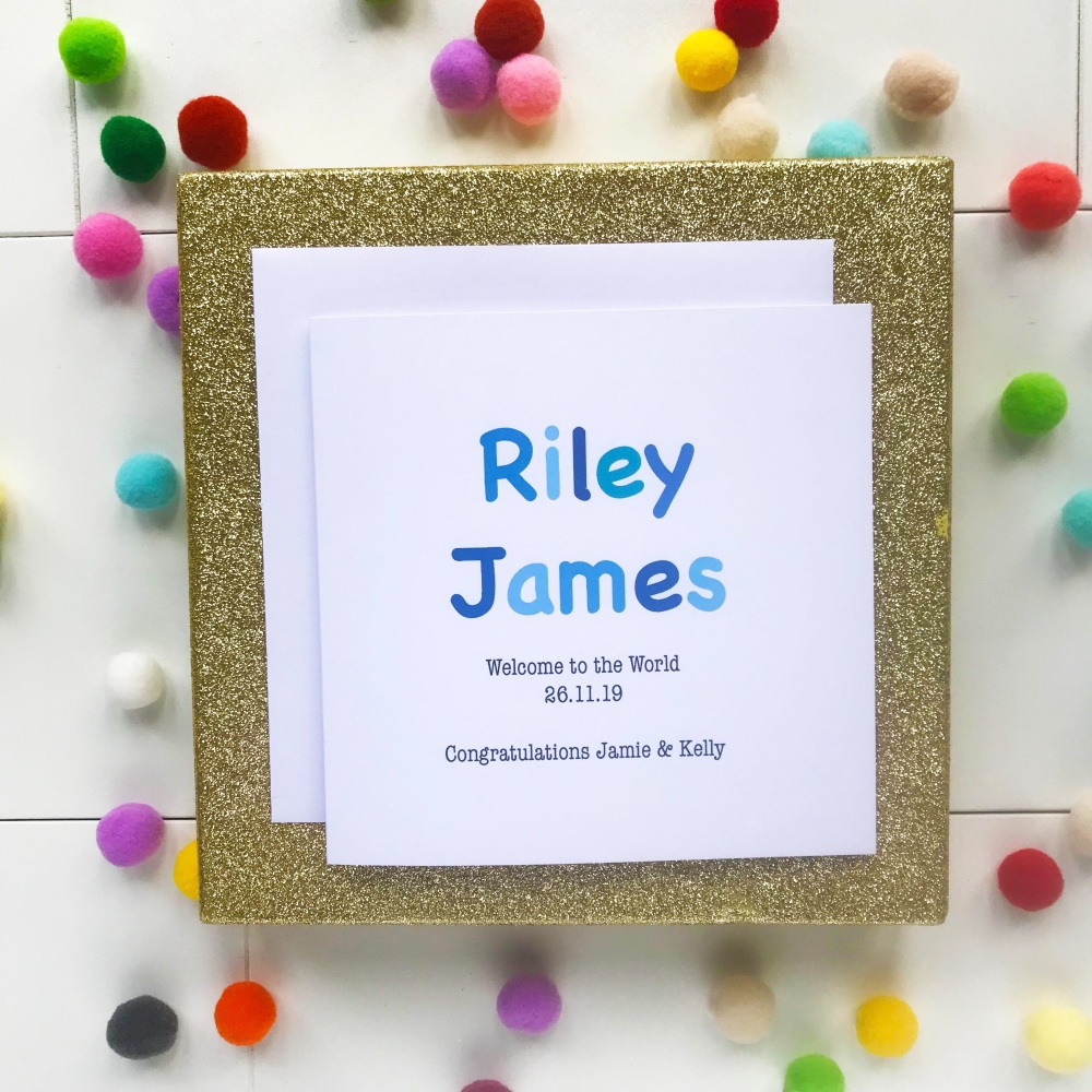 New Baby Boy - Blue Design Personalised with Date of Birth, Name of Baby an