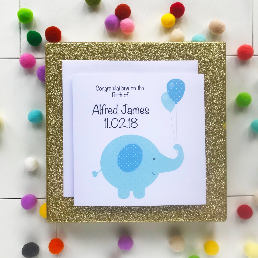 New Baby Boy - Elephant Design Personalised with Date of Birth and Name