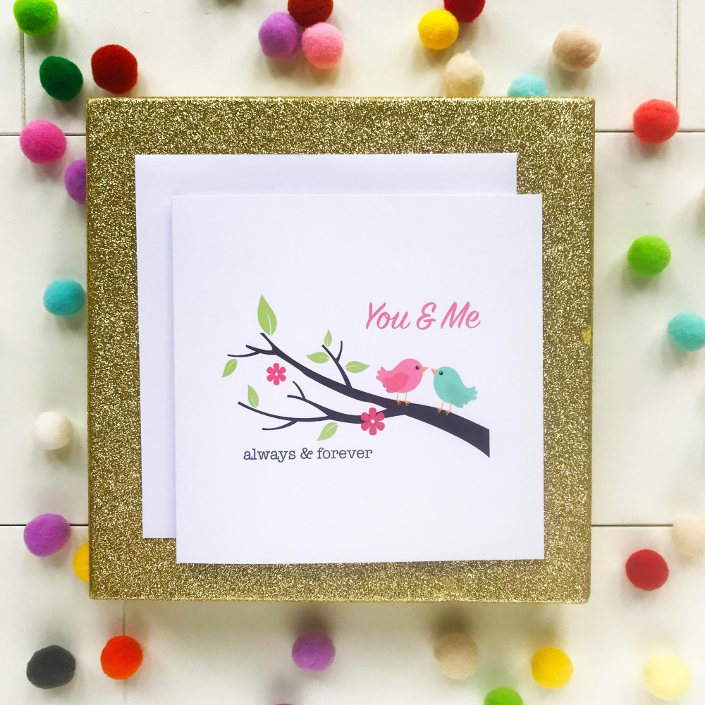Valentine's Greeting Card - 'Lovebirds on Branch'