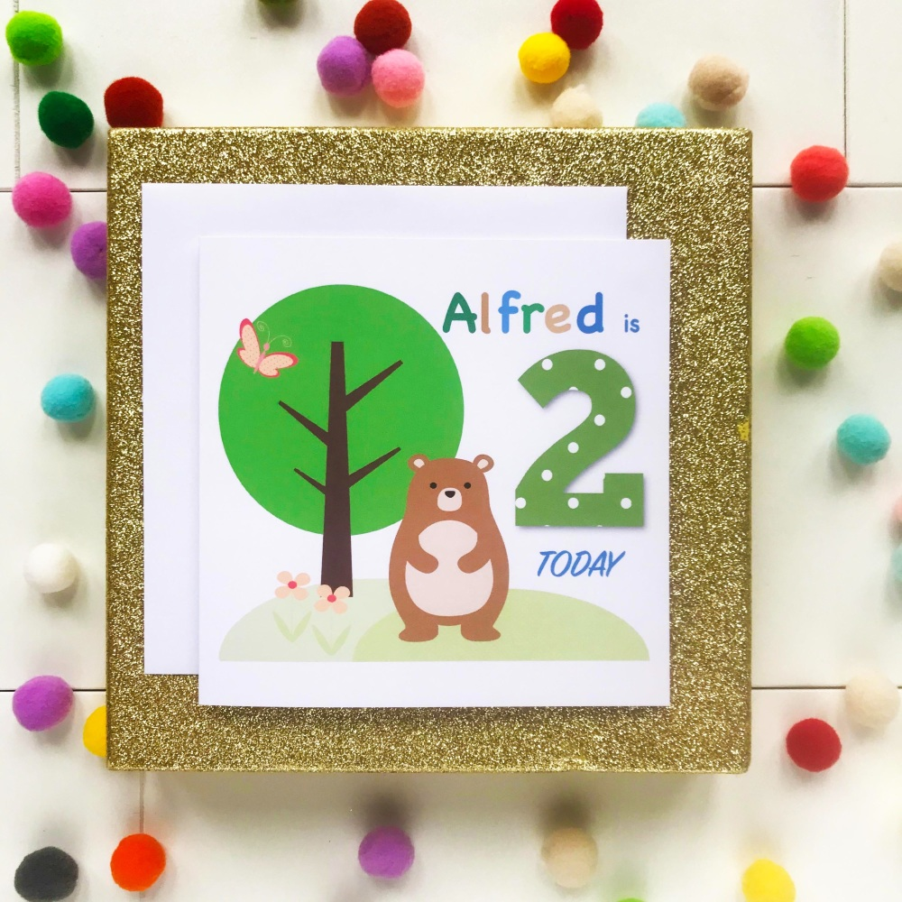 Happy Birthday Greetings Card with Age and Personalised with Name