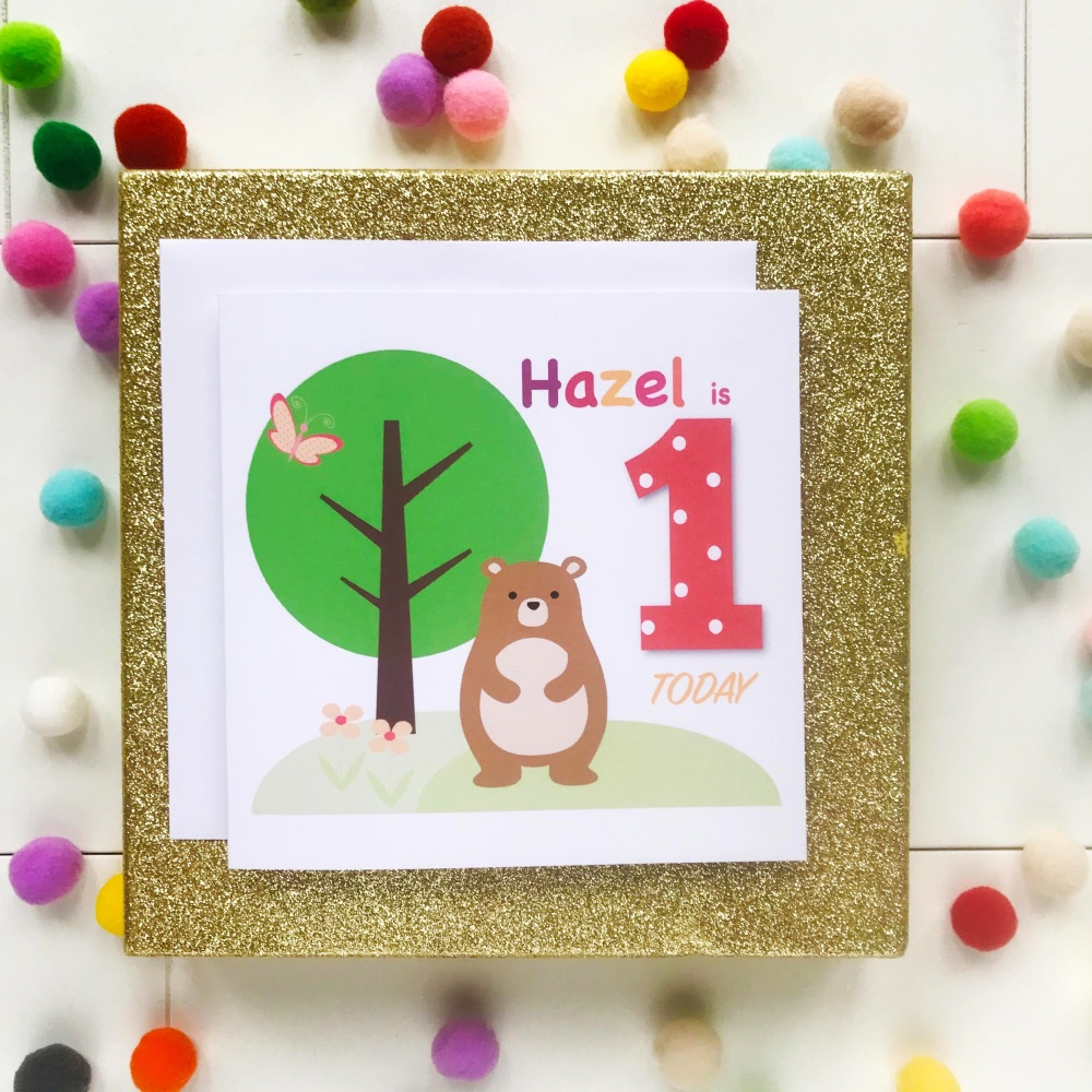 Happy Birthday Greetings Card with Age and Personalised with Name - Bear