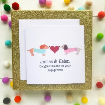 Dachshund Love - Personalised Engagement Card
