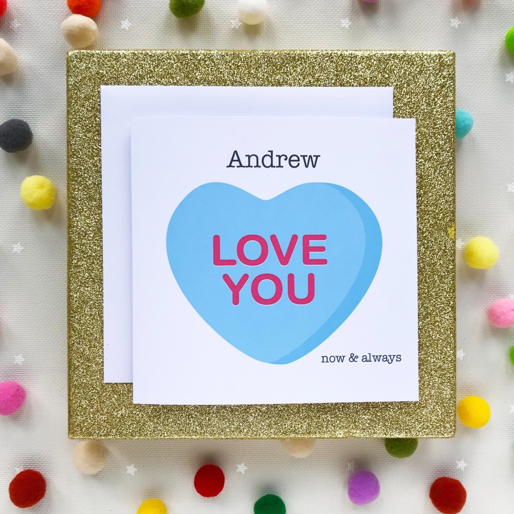Valentine's Greeting Card - Love You Blue Heart - Personalised