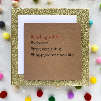 Valentine's  Hashtag Greeting Card - 'Darling Hubby'