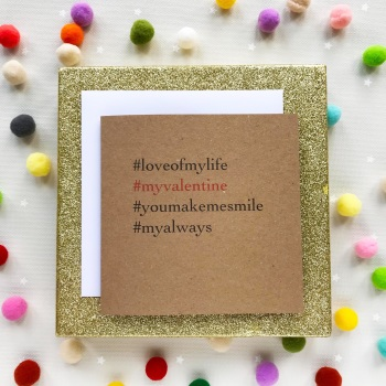 Valentine's  Hashtag Greeting Card - 'My Valentine'