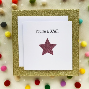 Handmade Greeting's Card - You're A Star - Pink
