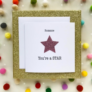 Handmade Greeting's Card - You're A Star - Pink - Personalised