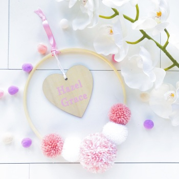 Pom Pom Hoop Wall Hanging Decoration - Hoop with Personalised Heart Decoration and Pink Inspired Pom Poms