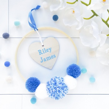 Pom Pom Hoop Wall Hanging Decoration - Hoop with Personalised Heart Decoration and Blue Inspired Pom Poms