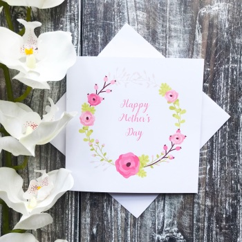 Mother's Day Card - Floral Wreath with Happy Mother's Day