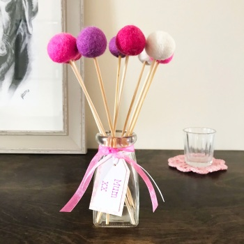 Felt Ball Bouquet with Glass Bottle/Vase - Shades of Pink
