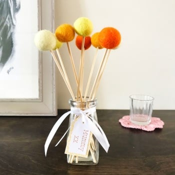Felt Ball Bouquet with Glass Bottle/Vase - Orange and Yellow