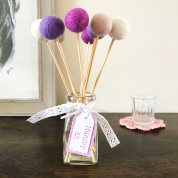 Felt Ball Bouquet with Glass Bottle/Vase - Lilac