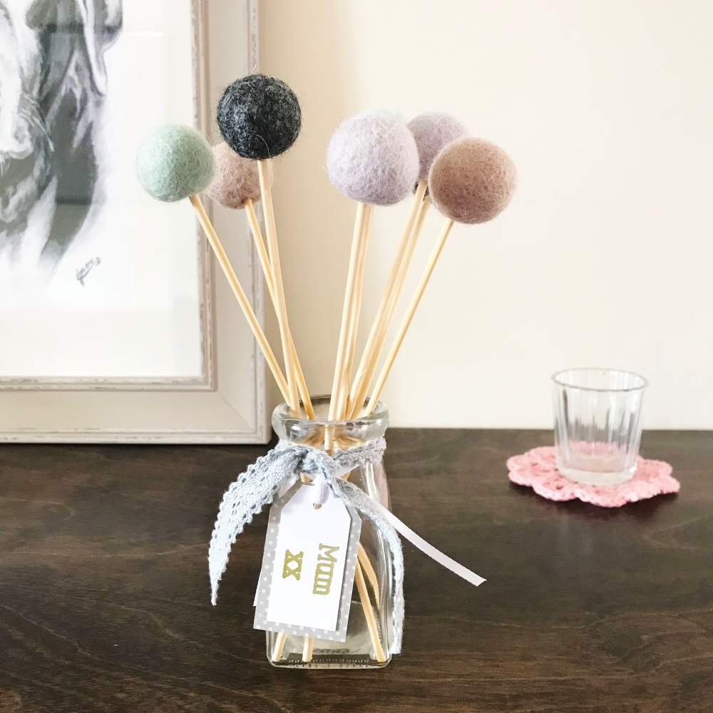 Felt Ball Bouquet with Glass Bottle/Vase - Mum - Shades of Pink