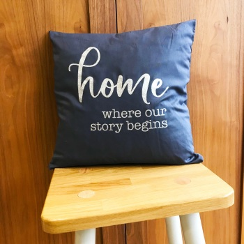 Grey Cushion - Home Where Our Story Begins