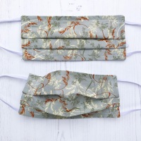 Reusable Handmade Face Covering With Elastic Hoops - Grey Stems