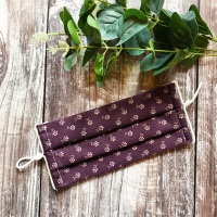 Reusable Handmade Face Covering With Elastic Hoops - Purple Ditsy