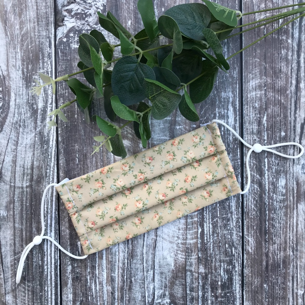 Reusable Handmade Face Covering With Elastic Hoops - Beige & Peach Ditsy Roses
