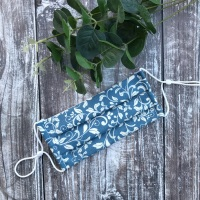 Reusable Handmade Face Covering With Elastic Hoops - Blue with Cream Vines