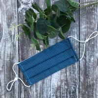 Reusable Handmade Face Covering With Elastic Hoops - Blue with White Dots
