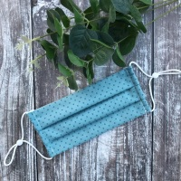 Reusable Handmade Face Covering With Elastic Hoops - Green /Blue with Small Circles