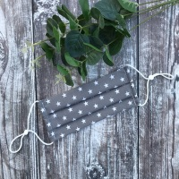 Reusable Handmade Face Covering With Elastic Hoops - Grey with White Stars