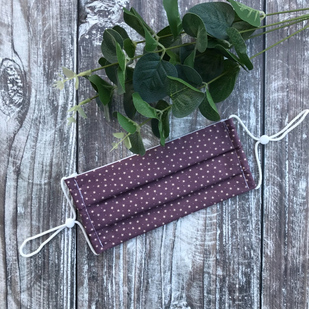 Reusable Handmade Face Covering With Elastic Hoops - Purple with Small Star