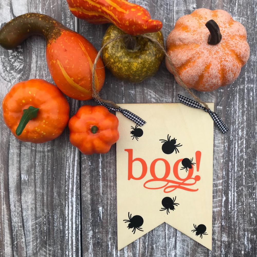 Wooden Flag Hanging - Halloween 'Boo'