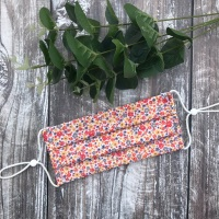 Reusable Handmade Face Covering With Elastic Hoops - Orange & Grey Ditsy Floral