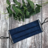 Reusable Handmade Face Covering With Elastic Hoops - Mottled Navy Blue